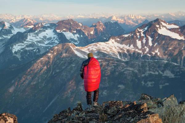 Pemberton Photograph - Male Climber Wearing A Sleeping Bag by Christopher Kimmel