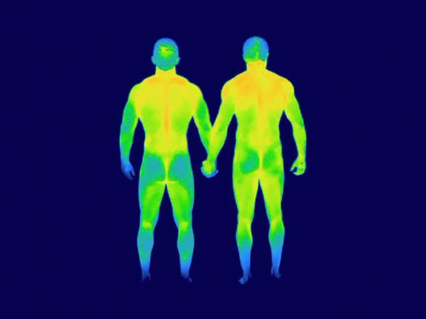 Infrared Radiation Photograph - Male Couple Holding Hands by Thierry Berrod, Mona Lisa Production