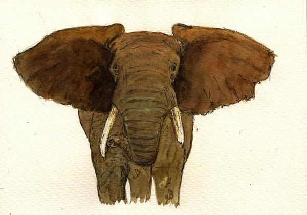 Bath Painting - Male Elephant by Juan  Bosco
