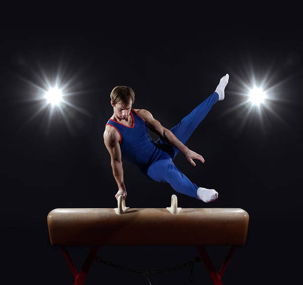 Physical Training Wall Art - Photograph - Male Gymnast On Pommel Horse by Mike Harrington