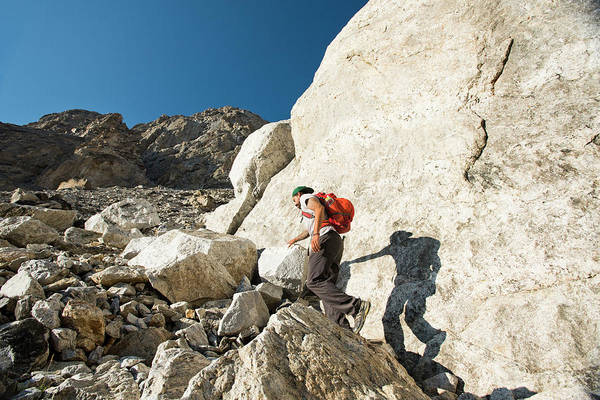 Wall Art - Photograph - Male Hiker Hiking In Rocky Landscape by Rob Hammer