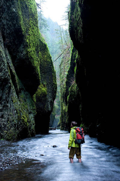 Deep Woods Wall Art - Photograph - Male Hiker Standing In Stream Looking by Woods Wheatcroft