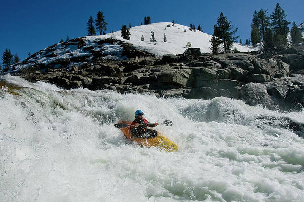Yuba River Photograph - Male Kayaker Paddling Down A Big Rapid by Trevor Clark