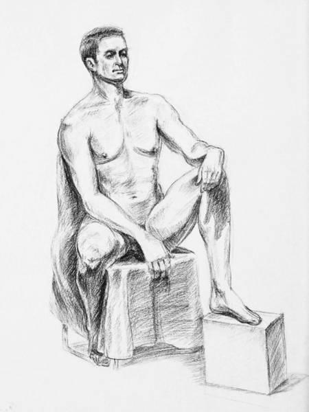 Naked Men Drawing - Male Model Seated Charcoal Study by Irina Sztukowski