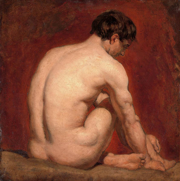 Wall Art - Painting - Male Nude, Kneeling, From The Back, Attributed To William by Litz Collection