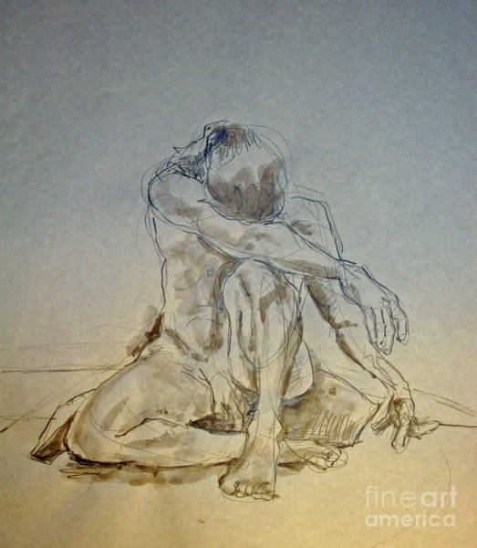 Nipples Drawing - Male Nude On Pillow With Tint by Andy Gordon