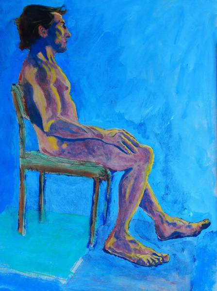 Painting - Male Nude Sitting by Mike Jory