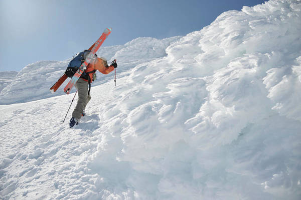 Gulf Of Alaska Photograph - Male Skier Climbs Through Thick Rime by HagePhoto