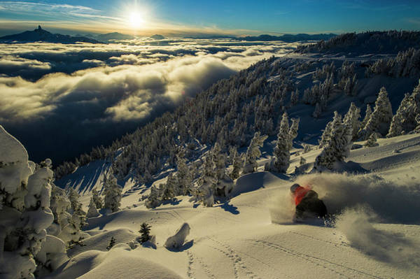 Wall Art - Photograph - Male Skier Makes A Powder Turn On Sunny by Blake Jorgenson