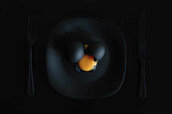 Egg Photograph - Malevich's Breakfast. Or The Black Square. by Victoria Ivanova