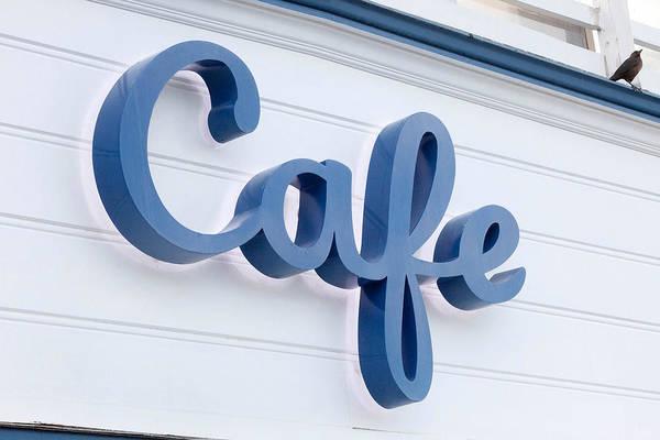 Cursive Photograph - Malibu Pier Cafe by Art Block Collections