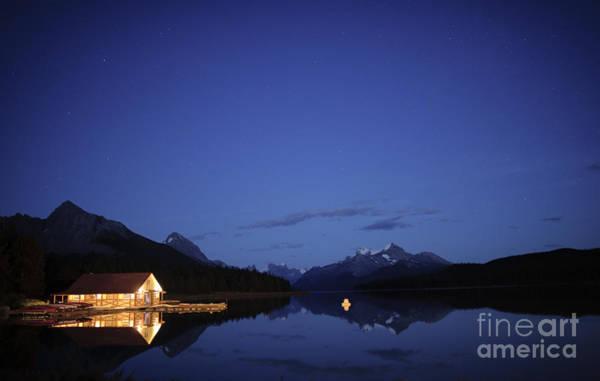 Maligne Lake Boathouse At Night Art Print