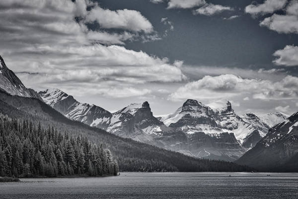 Photograph - Maligne Lake - Jasper - Black And White by Stuart Litoff