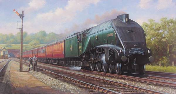 Railway Painting - Mallard On The Elizabethan. by Mike Jeffries
