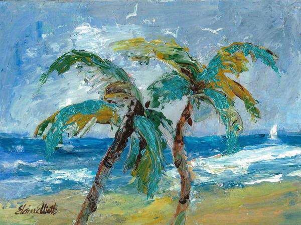 Impressionistic Sailboats Painting - Mallibu Palms by Elaine Elliott