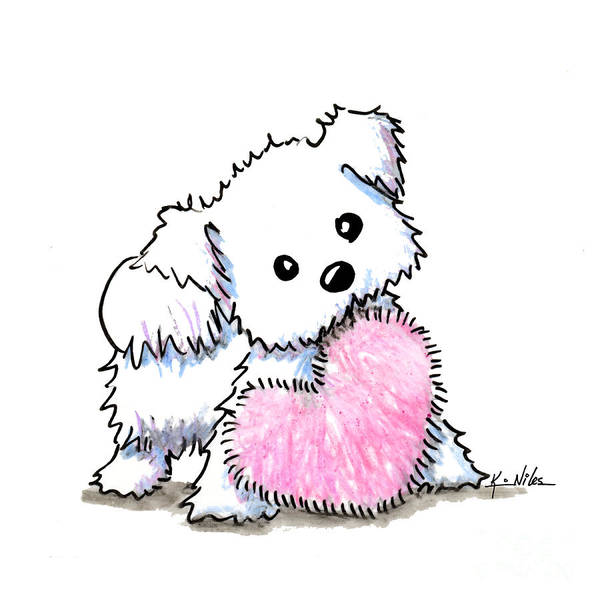 Wall Art - Drawing - Maltese Heart N Soul Puppy by Kim Niles