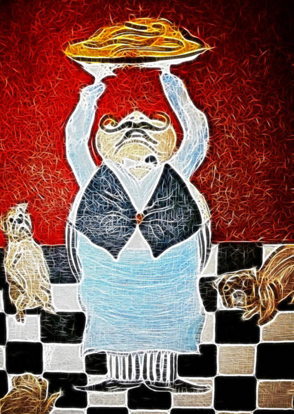Wall Art - Painting - Mamas Pizza Man by Lisa Stanley