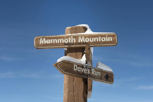 Lava Lakes Photograph - Mammoth Mountain Sign In Mono County by Carol M Highsmith