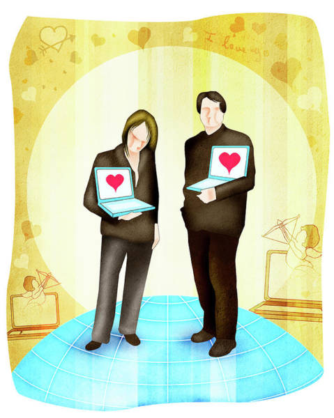 Front Page Photograph - Man And A Woman Standing With Laptops by Fanatic Studio / Science Photo Library
