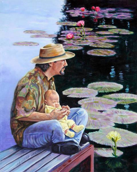 Wall Art - Painting - Man And Child In The Garden by John Lautermilch