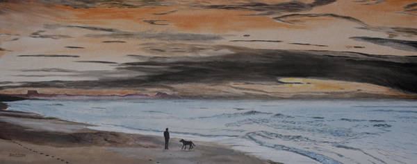 Tranquility Painting - Man And Dog On The Beach by Ian Donley