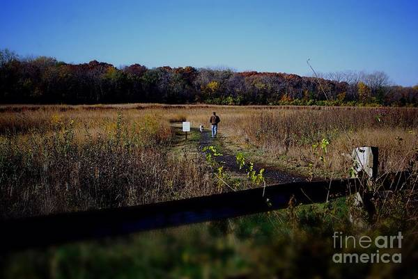 Photograph - Man And Dog Walking The Nature Trail by Frank J Casella