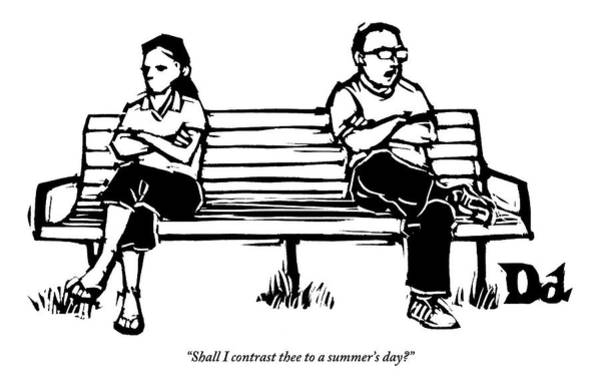 Shakespeare Wall Art - Drawing - Man And Woman Sit On Bench Opposite One Another by Drew Dernavich