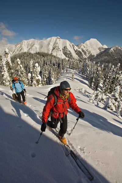 Jasmin Photograph - Man And Woman Ski Touring, Valhalla by Whit Richardson