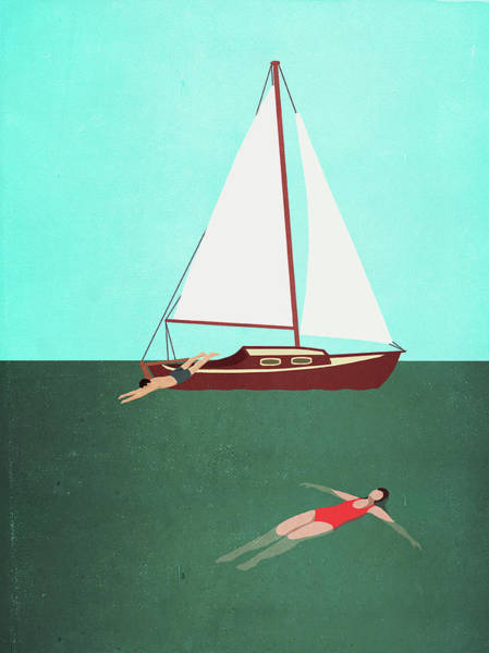 Diving Digital Art - Man And Woman Swimming In Sea By Boat by Malte Mueller