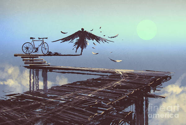 Wall Art - Digital Art - Man Becomes Bird Standing On End Of by Tithi Luadthong