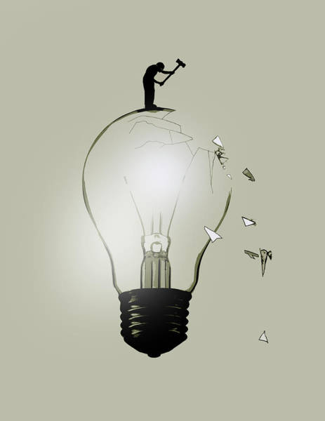 Wall Art - Photograph - Man Breaking Light Bulb by Ikon Ikon Images