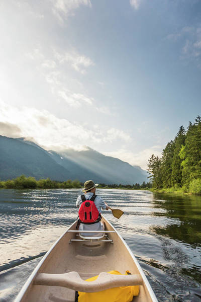 Metro Vancouver Wall Art - Photograph - Man Canoeing On Widgeon Creek, Pitt by Christopher Kimmel