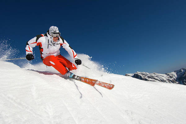 Wall Art - Photograph - Man Carving On His Skis At Snowbird by Scott Markewitz