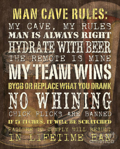 Team Wall Art - Painting - Man Cave Rules 2 by Debbie DeWitt