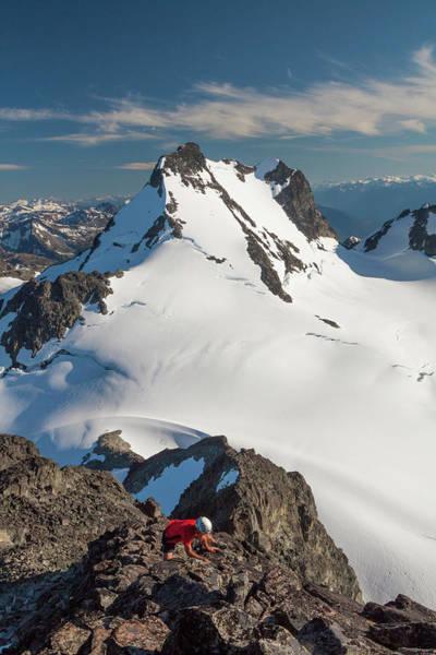 Pemberton Photograph - Man Climbing On Glacier by Christopher Kimmel