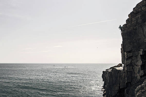 Wall Art - Photograph - Man Climbing On Otter Cliffs, Acadia by Chris Bennett