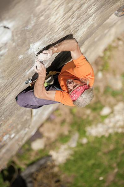 Wall Art - Photograph - Man Climbing Re Azul, An Historic 7b by Paolo Sartori