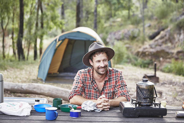 Man Cooking And Camping In Australian Bush Art Print by Stuart Miller