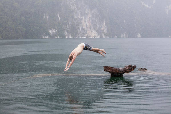 Man Diving Into Chieow Laan Lake Art Print