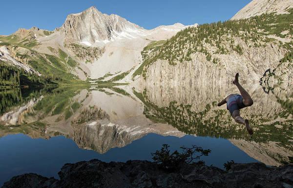 Diving Bell Photograph - Man Diving Into Snowmass Lake, Maroon by Brandon Huttenlocher
