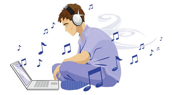 Download Photograph - Man Downloading Music From Internet by Fanatic Studio / Science Photo Library