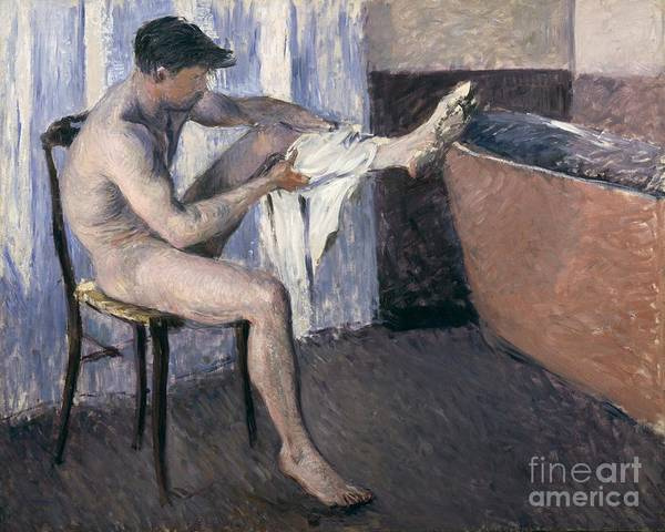 Seat Painting - Man Drying His Leg  by Gustave Caillebotte