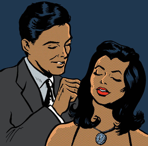 Man Fastening Necklace On Girlfriend Art Print