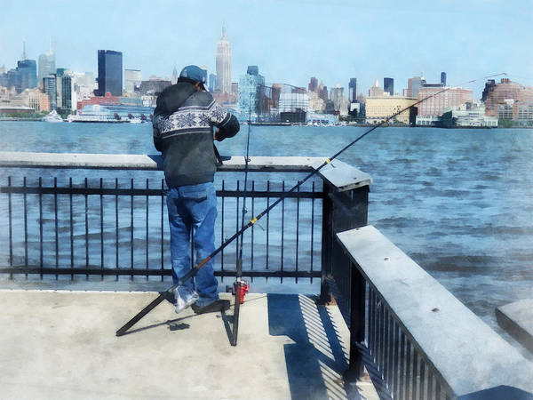 Photograph - Man Fishing Off Hoboken Pier by Susan Savad