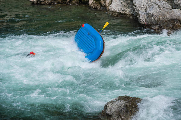 Man Floating In A River After His Raft Flipped Over While White Water River Rafting Art Print by Tdub303