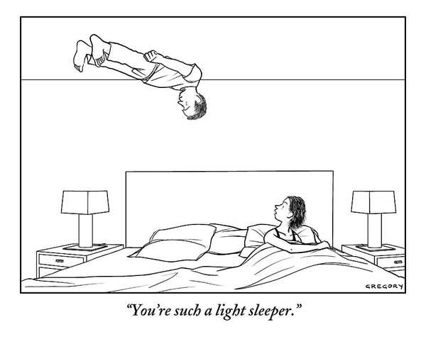 Upside Down Drawing - Man Floats Above His Wife In Bed by Alex Gregory