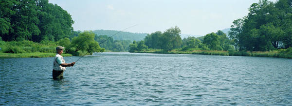 Broome Photograph - Man Fly-fishing In A River, Delaware by Panoramic Images
