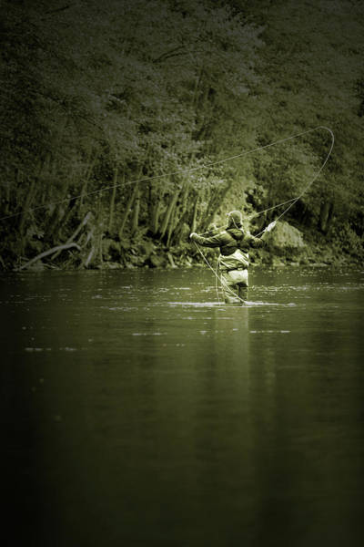 Angling Photograph - Man Fly Fishing On The Trinity River by Justin Bailie