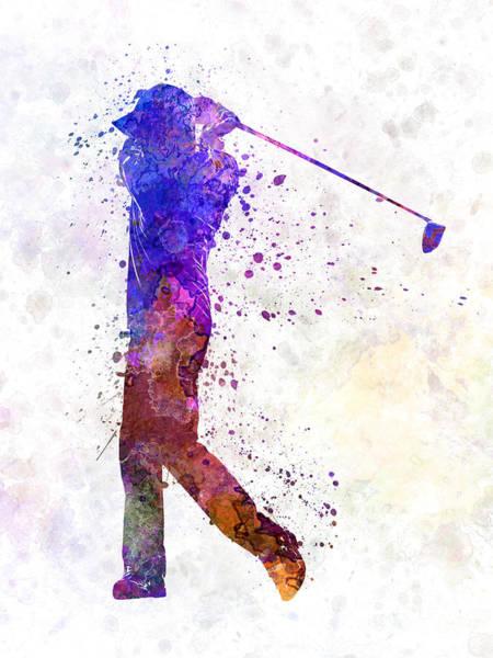 Golfers Painting - Man Golfer Swing Silhouette by Pablo Romero