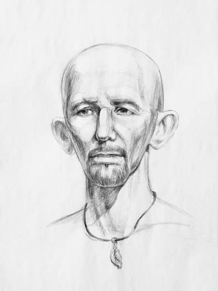Wall Art - Drawing - Man Head Study by Irina Sztukowski